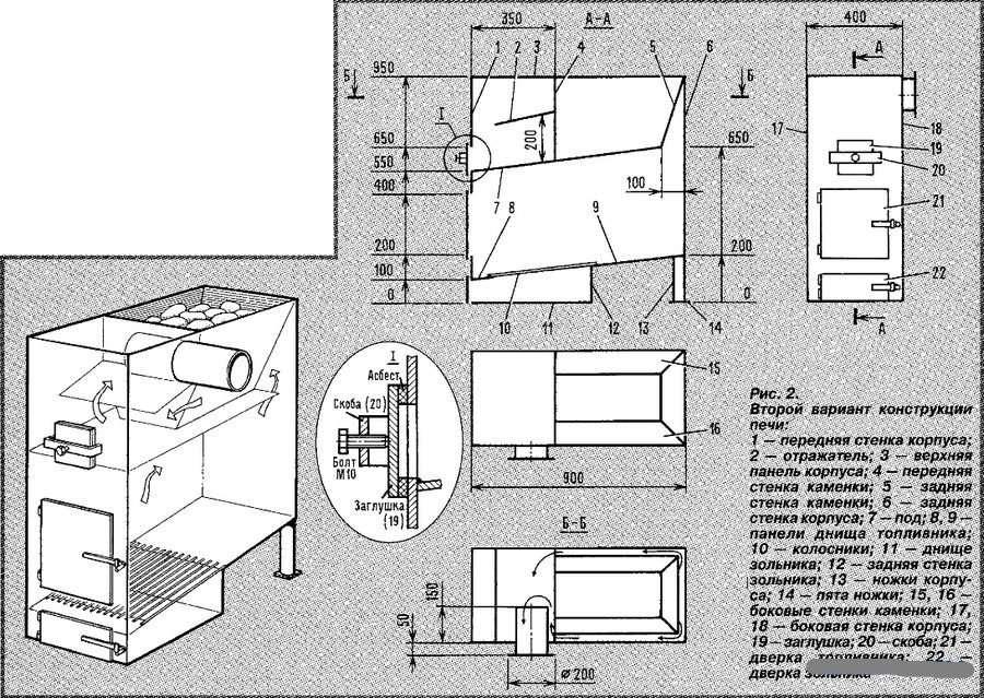 Как сделать печь для бани чертежи